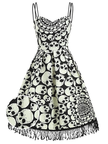 1950s Halloween Skull Fringed Cami Dress