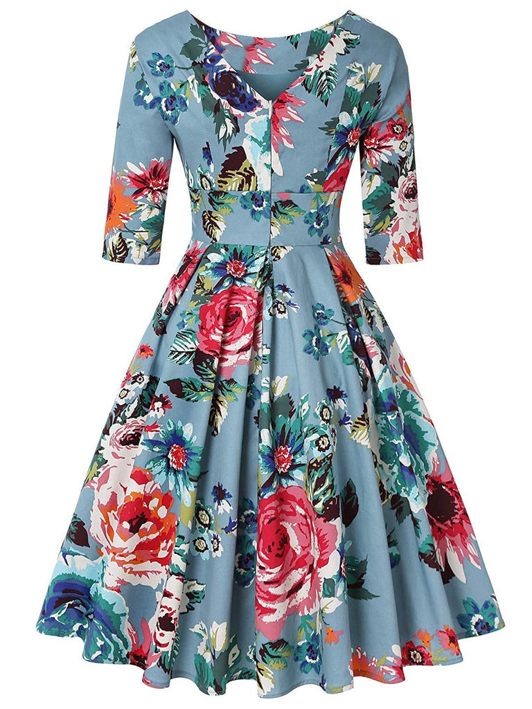 1950s Floral 3/4 Sleeve Swing Dress