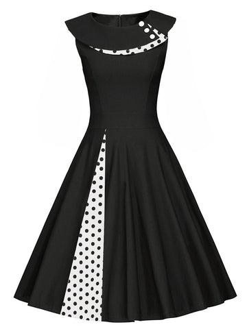 1950s Polka Dot Patchwork Swing Dress