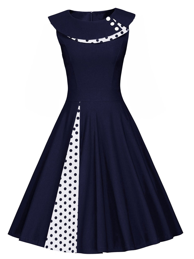 Blue 1950s Polka Dot Patchwork Swing Dress
