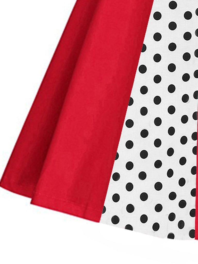 Red 1950s Polka Dot Patchwork Swing Dress
