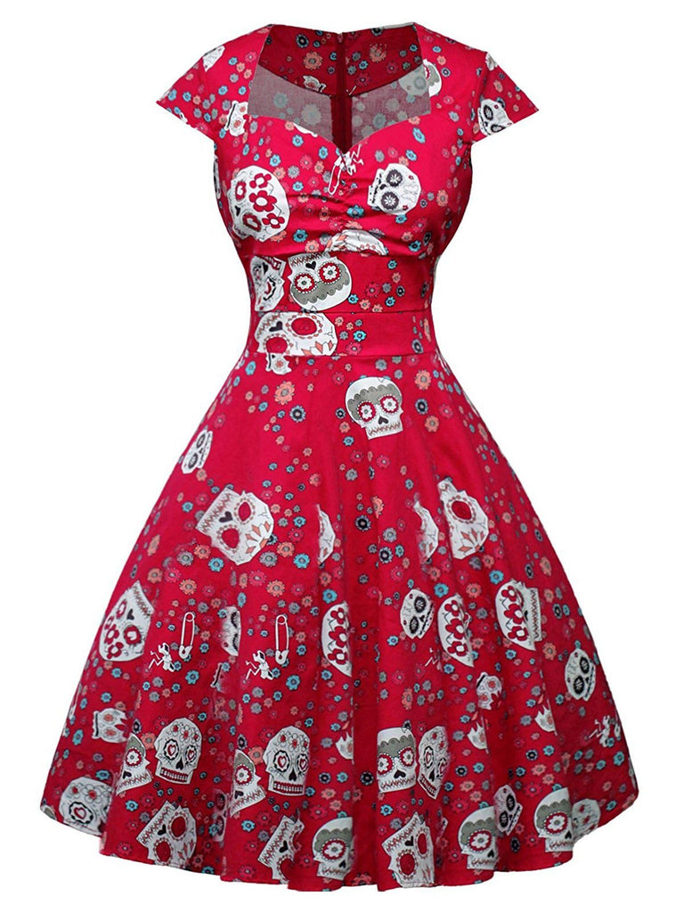 1950s Halloween Skull Floral Dress