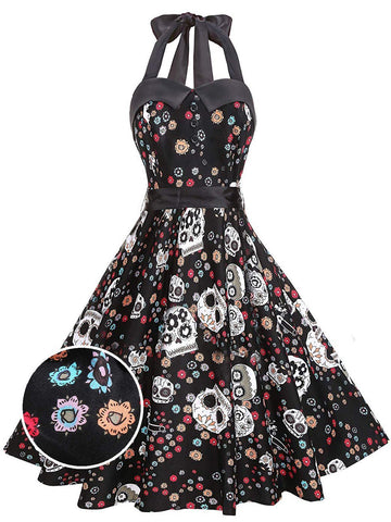 1950s Halloween Floral Skull Dress