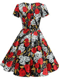 Black 1950s Halloween Rose Skull Dress