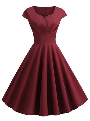 1950s Solid Sweetheart Swing Dress