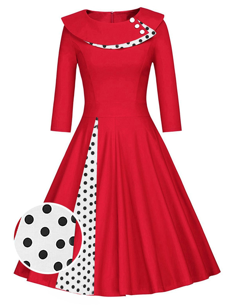 1950s 3/4 Sleeve Patchwork Swing Dress