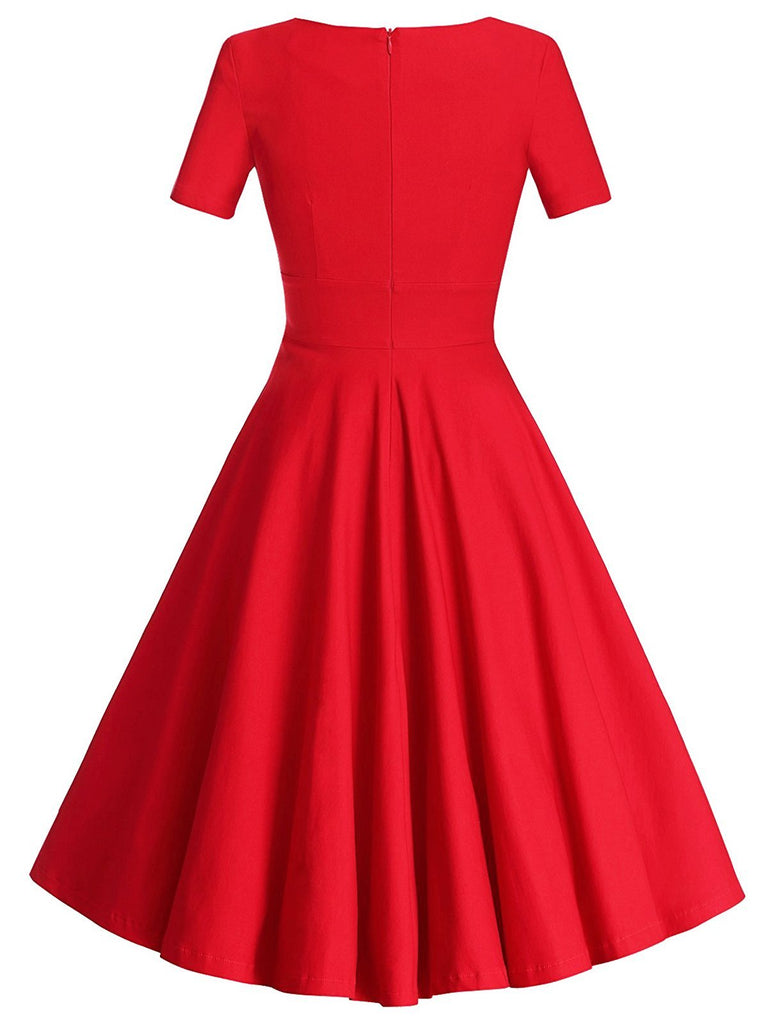 Red 1950s Solid Bow Decor Swing Dress