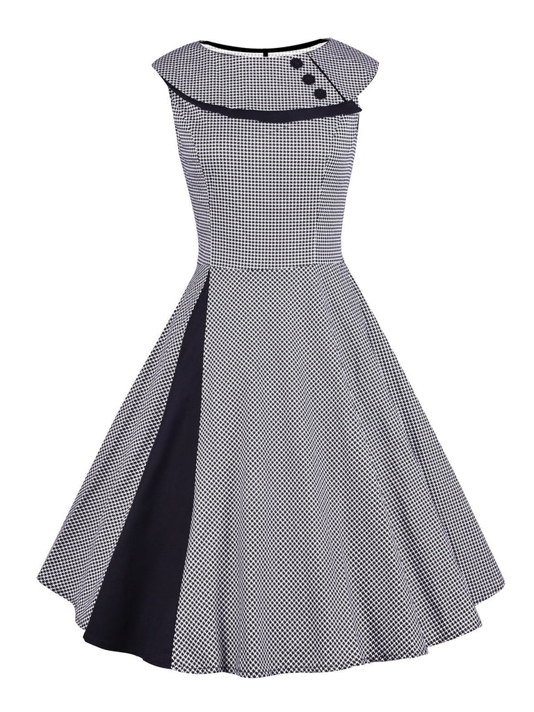 Grey 1950s Plaid Patchwork Swing Dress