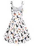 White 1950s Halloween Cat Swing Dress