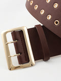Retro Double Hole Leather Waistband