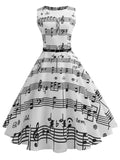White 1950s Music Note Swing Dress