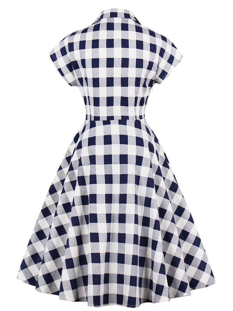 Special Blue White 1950s Pockets Plaid Dress