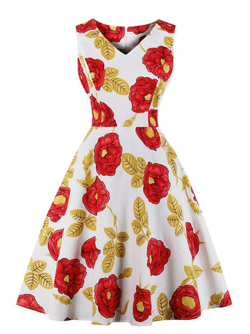 1950s Floral Polka Dot Swing Dress