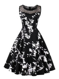 Black 1950s Floral Print Sleeveless Dress