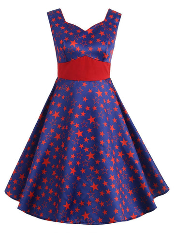 1950s Little Stars Sweetheart Neck Dress
