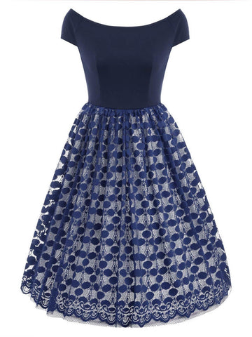 1950s Polka Dot Lace Patchwork Dress