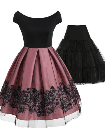 2PCS Top Seller 1950s Off Shoulder Dress & Black Petticoat