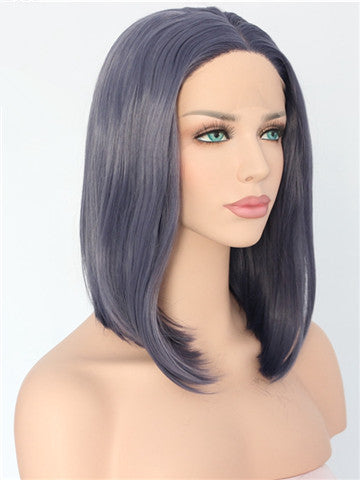 Short Leaden Straight Bob Synthetic Lace Front Wig - FashionLoveHunter