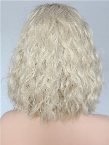 Short Brown Blonde Ombre Bob Curly Synthetic Lace Front Wig - FashionLoveHunter