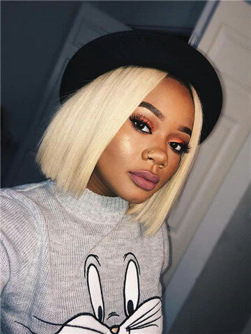 Short #613 Blonde PrePlucked With Baby Hair Lace Front 130% Density Brazilian Remy Bob Human Hair Wig