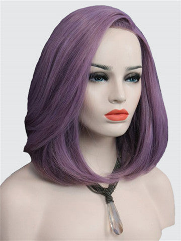 Short Ash Purple Bob Synthetic Lace Front Wig - FashionLoveHunter
