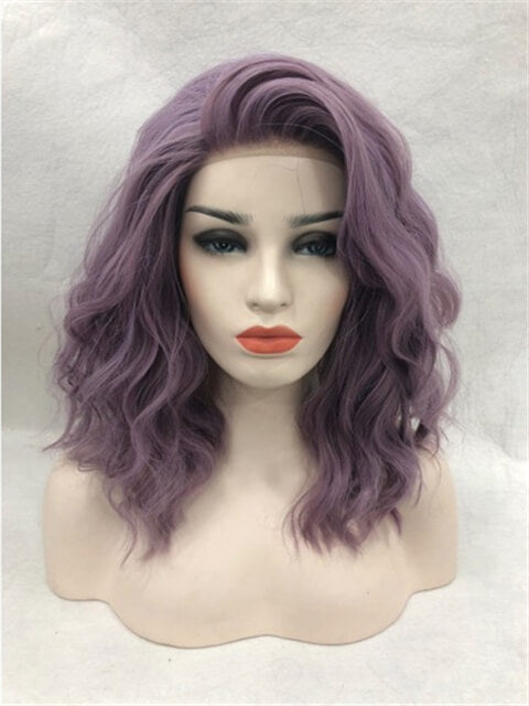 Short Ash Purple Wave Synthetic Lace Front Wig