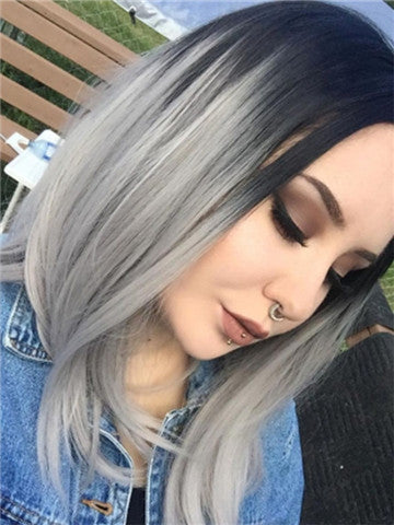 Short Black Grayish Ombre Bob Synthetic Lace Front Wig - FashionLoveHunter