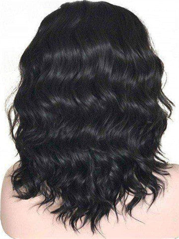 Short Black Pearl Wave Bob Synthetic Lace Front Wig - FashionLoveHunter