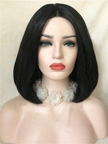 Short Black Swan Bob Synthetic Lace Front Wig - FashionLoveHunter