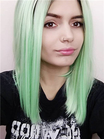 Short Black To Bright Mint Green Bob Synthetic Lace Front Wig - FashionLoveHunter
