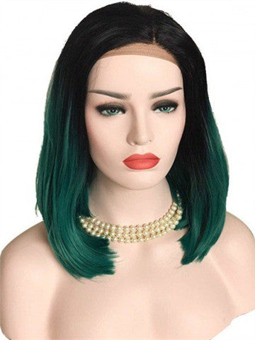 Short Black To Green Ombre Bob Synthetic Lace Front Wig - FashionLoveHunter