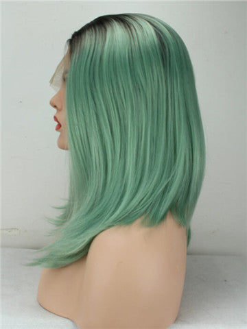 Short Black To Mint Green Bob Synthetic Lace Front Wig - FashionLoveHunter