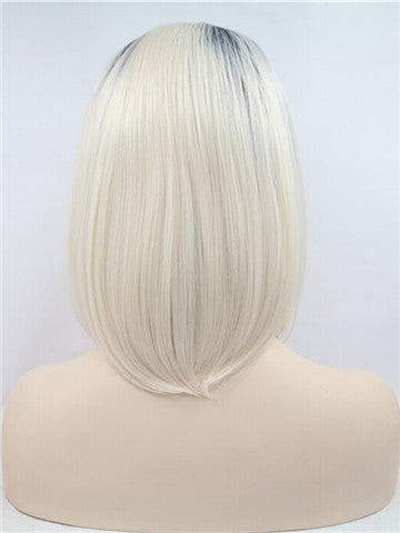 Short Bleach Blonde Ombre Straight Bob Synthetic Lace Front Wig - FashionLoveHunter