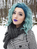 Short Borage Teal Green Ombre Synthetic Lace Front Wig - FashionLoveHunter