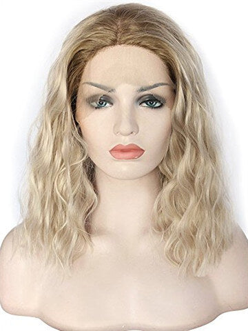 Short Brown To Light Golden Ombre Curly Synthetic Lace Front Wig