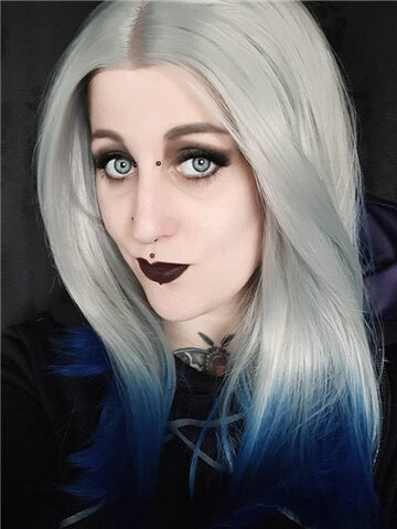 Short Centaury Silver Blue Ombre Synthetic Lace Front Wig - FashionLoveHunter