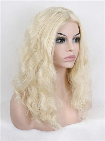 Short Champagne Blonde Curly Bob Synthetic Lace Front Wig - FashionLoveHunter