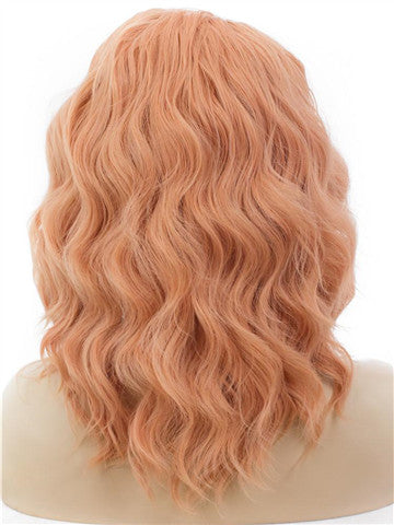 Short Clivia Peach Curly Bob Synthetic Lace Front Wig - FashionLoveHunter
