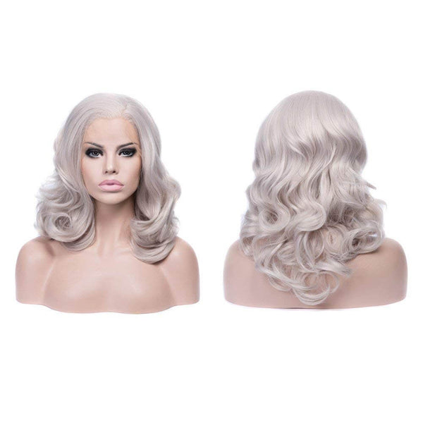 Short Cool Silver Grey Wavy Synthetic Lace Front Wig
