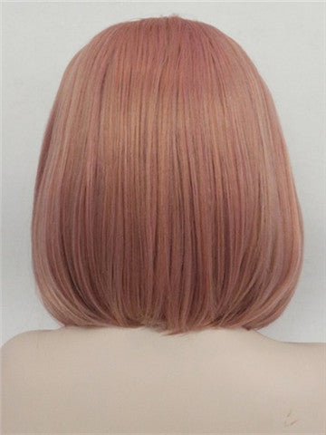 Short Coral Pink Bob Synthetic Lace Front Wig - FashionLoveHunter