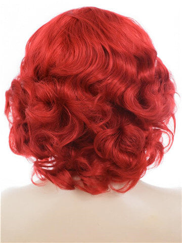 Short Curly Bright Red Bob Wave Synthetic Lace Front Wig