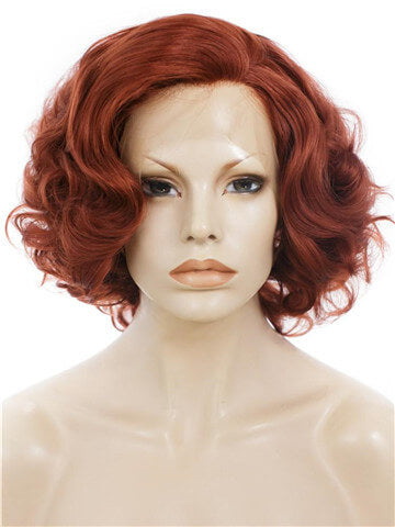 Short Dark Auburn Copper Bob Wave Synthetic Lace Front Wig