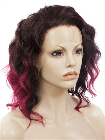 Short Burgundy Rihanna Style Wave Synthetic Lace Front Wig - FashionLoveHunter