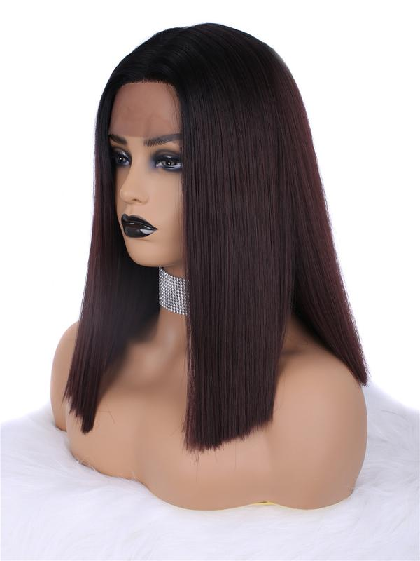 Short Dark Wine Red Ombre Synthetic Lace Front Wig
