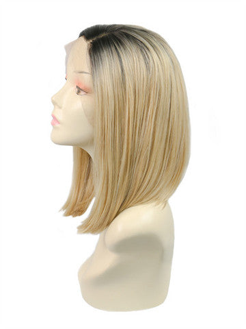 Short Goldish Brown Ombre Bob Synthetic Lace Front Wig - FashionLoveHunter