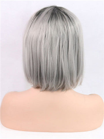 Short Grey Ombre Bob Synthetic Lace Front Wig - FashionLoveHunter