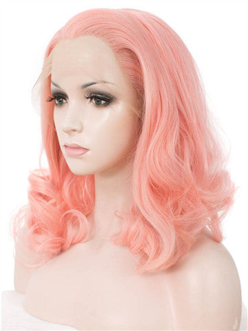 Short Lannesiana Pink Wave Bob Synthetic Lace Front Wig - FashionLoveHunter