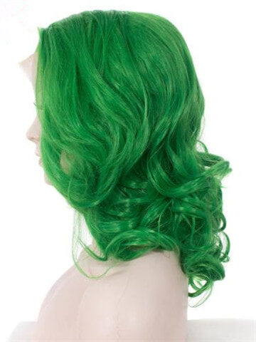 Short Lime Spring Green Wave Synthetic Lace Front Wig