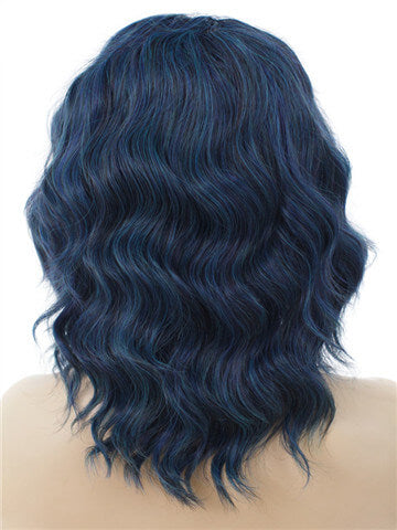 Short Midnight Blue Wave Synthetic Lace Front Wig
