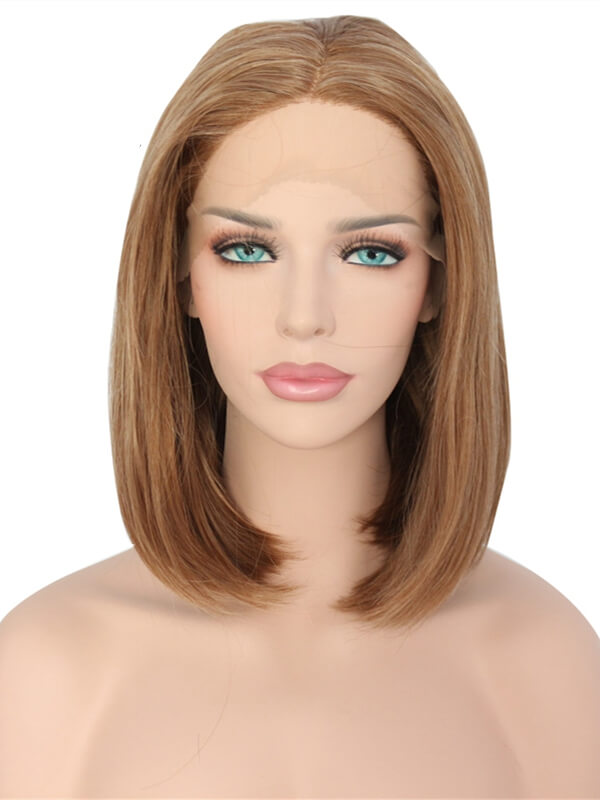 Short Mixed Chocolate Brown Highlight Bob Synthetic Lace Front Wig